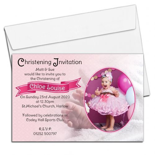 10 Personalised Christening Baptism PHOTO Invitations N72